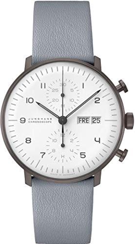 Junghans max Bill Chronoscope Automatik Armbanduhr Lederband grau 027/4008.04