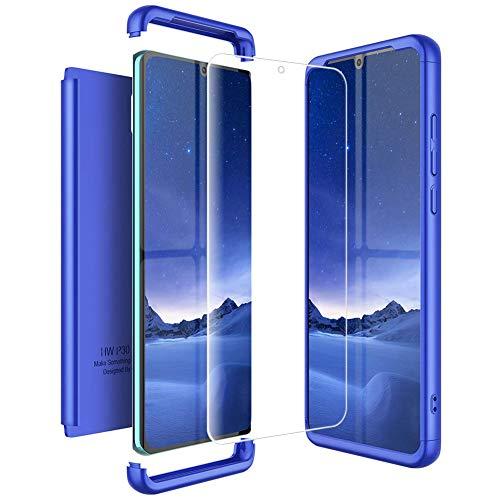 Mkej Kompatibel mit Huawei P30 Pro Hülle, [Panzerglas Displayschutzfolie] 3 in 1 Ultra Dünn Handyhülle 360° Full Body Anti-Kratzer Hart PC Skin Glatte Bumper für P30 Pro - Blau