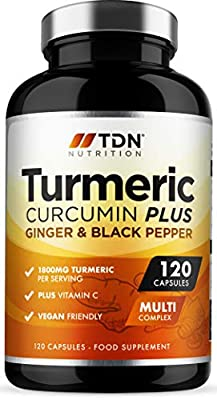 Turmeric Capsules High Strength 1800mg with Black Pepper, Ginger and Vitamin C - 120 Capsules - Premium Grade Turmeric Curcumin - Vitamin C for Immune and Joints - Vegan - UK Made