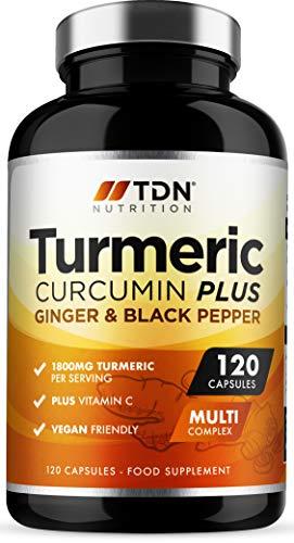 Turmeric Curcumin Plus, Integratore Curcumina di Curcuma con Pepe Nero, Zenzero, Vitamina C, Sostegno Alta Qualità e Vegano per Cellule e Sistema Immunitario, 120 Capsule da 1800mg, Made in UK