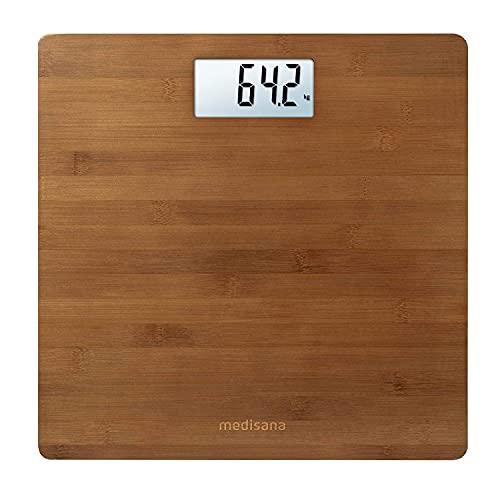 medisana PS 450 bilancia pesapersone digitale in bambù fino a 180 kg, bilancia pesapersone con spegnimento automatico e display LCD