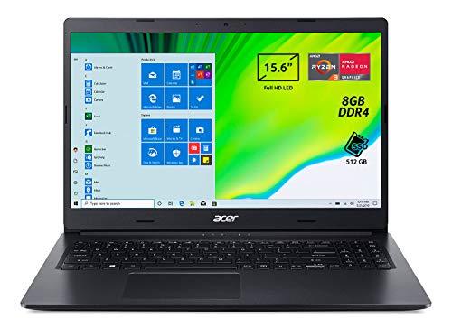 "Acer Aspire 3 A315-23-R5LY Pc Portatile, Notebook con Processore AMD Ryzen 3 3250U, Ram 8 GB DDR4, 512 GB PCIe NVMe SSD, Display 15.6"" FHD LED LCD, AMD Radeon, Windows 10 Home, Nero"