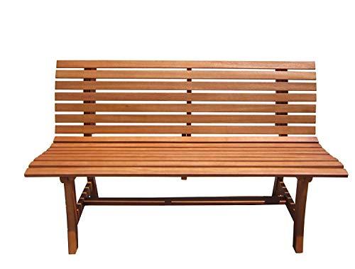 nxtbuy Parkbank Moreno in braun aus geöltem Eukalyptusholz - Massive Outdoor Sitzbank bis 240 kg mit wetterbeständiger Oberfläche