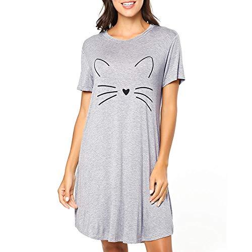 Vestido camisón con Estampado de Letras de camisón para Mujer, Pijama de Manga Corta de Piel de algodón Sedoso, Ropa Casual para el hogar