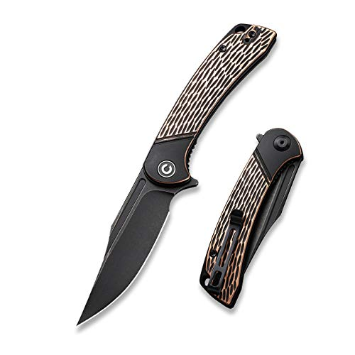 CIVIVI Dogma Flipper Pocket Knife, Black Stonewashed D2 Blade,Copper Handle, Liner Lock, Ball Bearings Pivot,Utility Knife With Reversible Clip For Edc Outdoor Carry C2014B