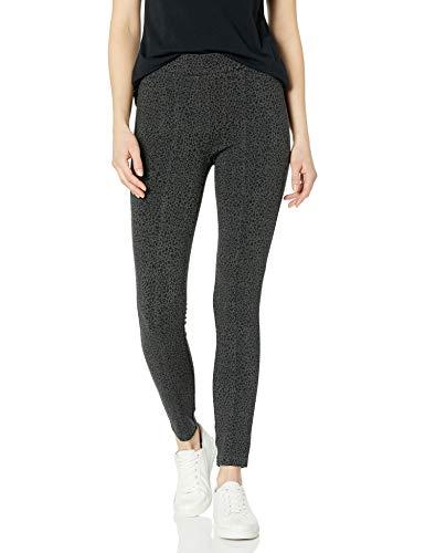 Daily Ritual Seamed Front, 2-Pocket Ponte Knit Legging Pantalon, Imprimé Animal Noir, L