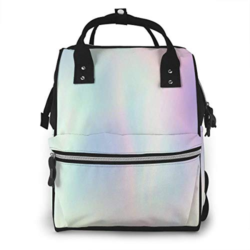UUwant Sac à Dos à Couches pour Maman Very Beautiful Rainbow Texture Holographic Foil Wonderful Magic Diaper Bags Large Capacity Diaper Backpack Travel Nappy Bags Mummy Backpackling
