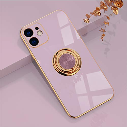 EYZUTAK Electroplated Magnetic Ring Holder Case, 360 Degree with Rotation Metal Finger Ring Holder Magnet Car Holder Soft Silicone Shockproof Cover for iPhone 11 6.1 inch - Purple