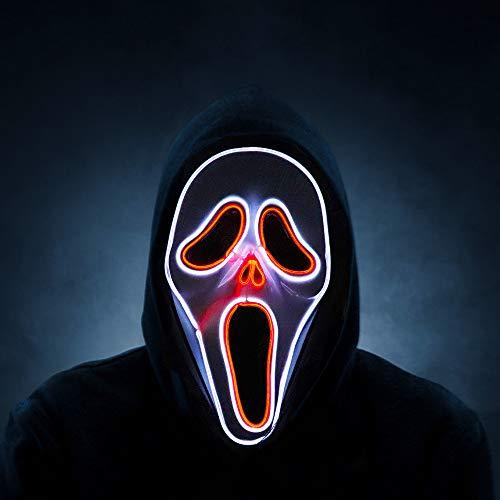 Máscaras LED Halloween, Milnsirk la Purga Mascara Craneo Esqueleto Gritón LED de Halloween Adultos, Scary Mask 3 Modos de Iluminación, para Fiestas de Disfraces Cosplay Carnaval, Baterías(no Incluido)