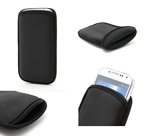 DFVmobile - Wasserabweisende Tasche aus flexiblem dehnbaren weichen Neopren hohe Qualität für Oppo r5 - Schwarz