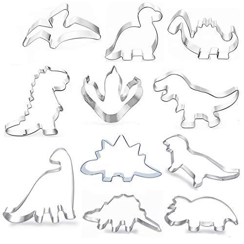 Uni-Fine 11piezasJuego de cortadores de Galletas de, cortadores de Galletas Dino, Dinosaurio Moldes para Galletas Infantiles-Acero Inoxidable