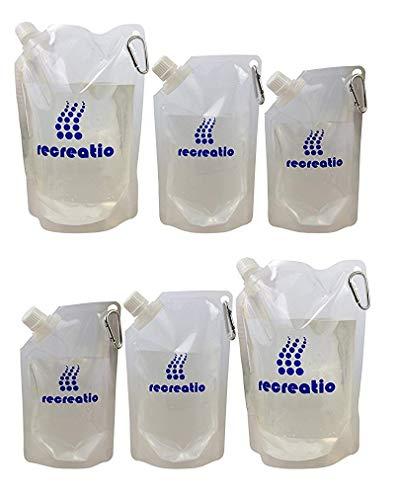 Trinkbeutel Set (2x350ML, 2x500ML, 2x1L) | Karabiner | Auslaufsicher & Wiederbefüllbar | BPA Frei | Trinkflasche/Wasserflasche Set | Vielseitig einsetzbar
