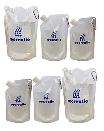 Juego de botellas plegables (2x350 ml, 2x500 ml, 2x 1l) | mosquetón...