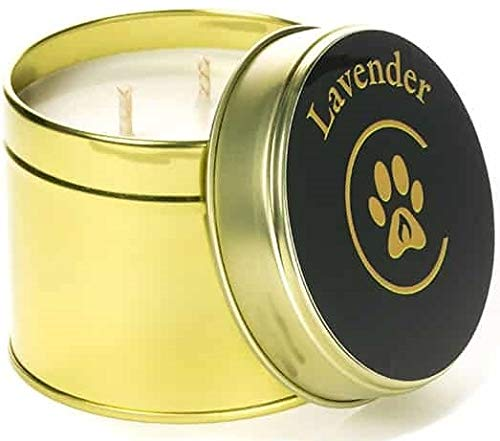 Lavender Spa Geurende Dubbele Wick Eco Soja Wax Huisdier Bereik Kaars, 250ml, Gold Tin Vessel