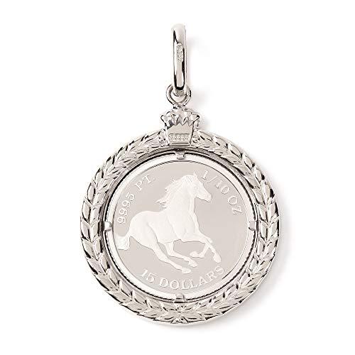 プラチナ ペンダントトップ 1/10oz ホース 馬 コイン エリザベス レディース メンズ デザイン枠