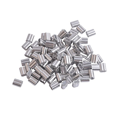 Accessbuy 1/8'Cable 100 Pieces Aluminum Crimping Loop Sleeve for Wire Rope and Cable