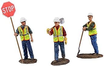 First Gear 1/50 Scale Metal Construction Figures: Worker Holding Stop/Slow Sign, Worker with Shovel Over Shoulder, Worker Leaning on Shovel (#90-0480)