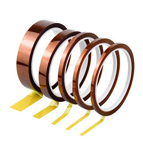 5 Stk Kapton Tape Hitzebeständiges Klebeband Elektronik Selbstklebend Isolierband Hohen Temperaturen Kapton Band 3mm 5mm 6mm 12mm 20mm x 33M