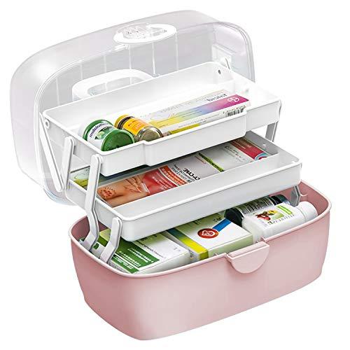 Gute Hausapotheke Schrank,Medizinbox,Erste-Hilfe-Box,Tragbare Aufbewahrung für Medizinkisten,Organizer-Box,3 Ebene Medizinkoffer, Aufbewahrungskoffer für zu Hause, im Freien, Pink 30X19X16 cm