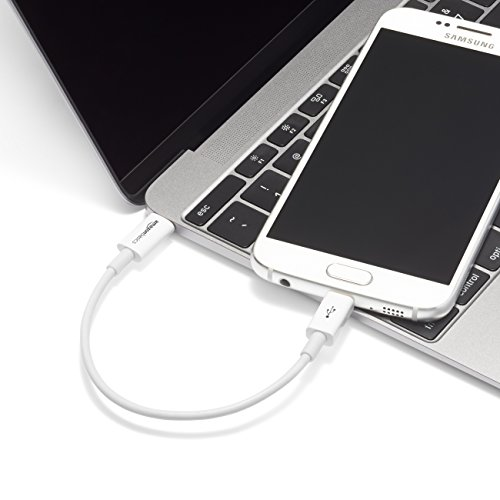 Amazon Basics - Verbindungskabel, USB Typ C auf Micro-USB Typ B, USB 2.0, 15,2 cm, Weiß