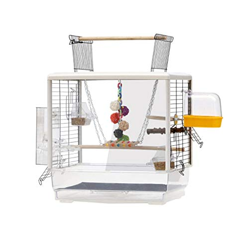 liushop Bird Cage Small Sized Birds Travel Cage Pet Home Open Top Bird Cage For Budgie Lovebirds 61 cm High, Ornamental bird cage with toys Pet Supplies (Color : C)