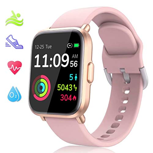LIDOFIGO Montre Connectée Smart Watch Fitness Tracker Homme Femme Bracelet Connecté Etanche IP68 Smartwatch Montre Intelligente Cardiofréquencemètres Podometre Sommeil Oxygène sanguin Boussole Rose