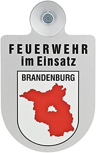 Paco Deutschland E K Feuerwehr Im Einsatz Kfz Aluschild Mit Saugnapf Und Bundesland Wappen Brandenburg Auto