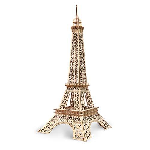 GuDoQi Puzzle 3D Madera, Maqueta de la Torre Eiffel para Montar, Rompecabezas Madera 3D para Construir, Kit de Manualidades DIY, Juguete de Montaje, Pasatiempos para Adultos