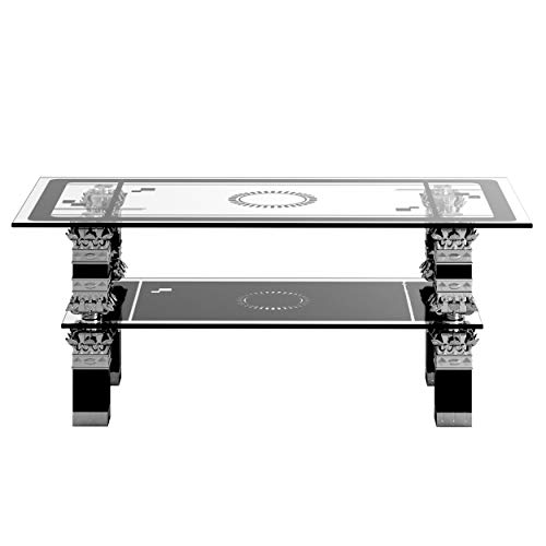 Panana Rectangle Glass Coffee Table Modern Side Table with Lower Shelf Chrome Leg Furniture Living Room Guest Reception Room