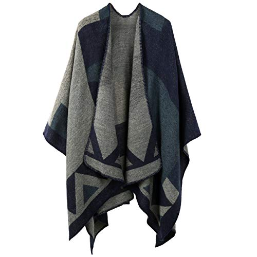 VBIGER Damen Poncho Schal Wrap Farbblock Open Front Cape Übergroße Winterdecke Reversible Schal Dicke Cardigan Coat