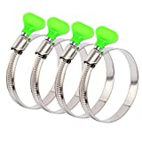 ISPINNER 4pcs 1.5 Inch Key Hose Clamp, Bandwidth 12mm Thumb Screw Adjustable Stainless Steel Hose Clamps for Dryer Vent, Dust Collector and Automotive
