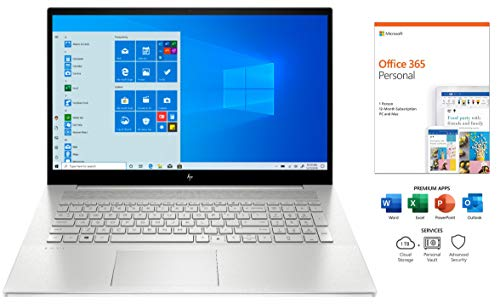 HP Envy 17.3' FHD Touch-Screen Laptop, IPS, i7-1065G7, Backlit Keyboard, WiFi-6, USB-C, HDMI, Webcam, NVIDIA GeForce MX330, Win 10, with Office 365 (1 Year) (12GB RAM   512GB PCIe SSD   Office 365)