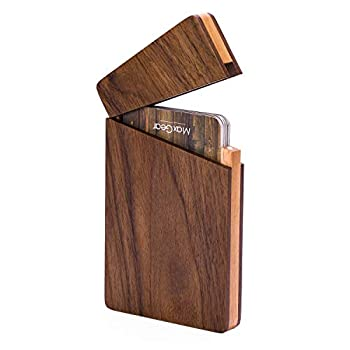 MaxGear Business Card Holder Wood Business Card Holders Business Card Case Name Card Holder for Men Pocket Card Holder with Magnetic Closure Walnut Beech