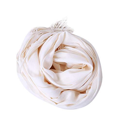 UJUNAOR Damen Einfarbig Quaste Schal Schals Frauen Qualität Pashmina Wrap Stola Halstücher Herbst(Weiß,One size)
