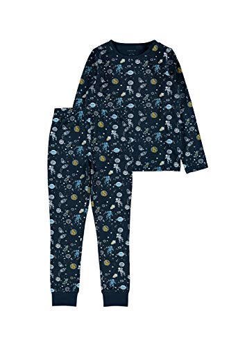 NAME IT Jungen Nkmnightset Dark Sapphire Space Noos Pyjamaset, 134-140 (2er Pack)