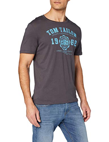 TOM TAILOR Herren Logodruck T-Shirt, Grau (Tarmac Grey 10899), L