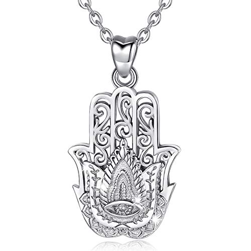 Silver Necklaces for Women, 925 Sterling Silver Hamsa Hand of Fatima Good Luck Vintage Pendant, 18'' Rolo Chain AEONSLOVE Jewellery Gifts for Her Ladies Wife Girls