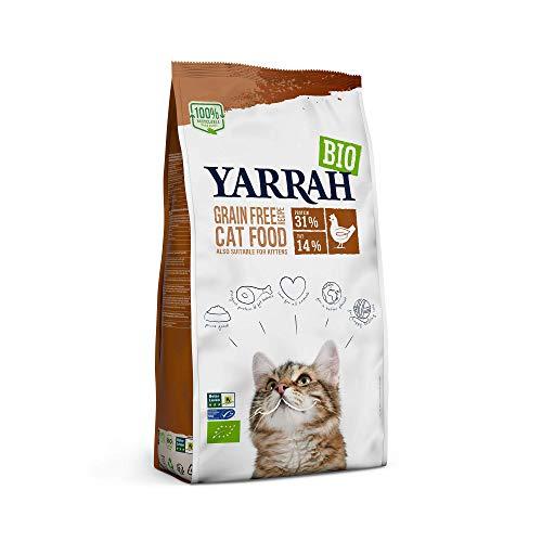 YARRAH Bio Katzenfutter trocken | getreidefrei | Hochwertiges Premium Trockenfutter für Katzen | Hoher Nährstoffanteil | Futter für Katzen jeden Alters mit Bio-Huhn und MSC Fisch, 2.4kg