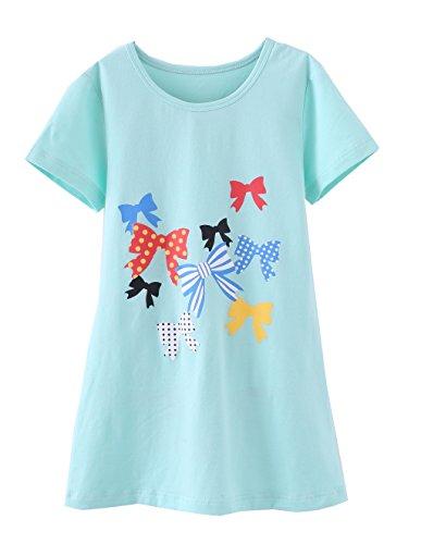 ABClothing Mädchen Prinzessin Nachthemden Herz Print Nachthemden Baumwolle Nachtwäsche für 7-8 Jahre Streifen Bogen