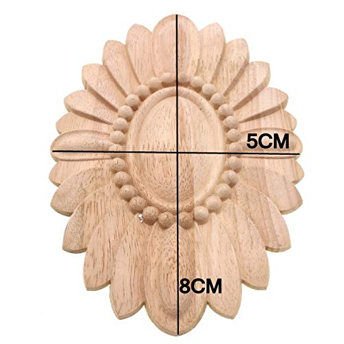 Wood Applique Furniture Accessories Wooden Oval Solar Gate Flower Craft Wedding Decoration Home Decor Miniature 1