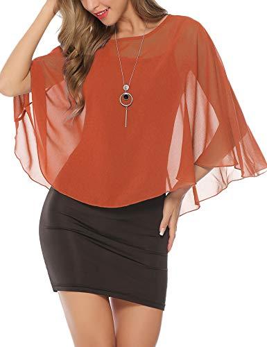 Abollria Elegant chiffon bolero feestelijke cape lichte schouderjas vloeiende bolerojas bij jurk