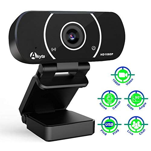 HD Webcam with Microphone, Akyta 1080P Web Camera for Desktop Computer PC, Laptop USB Webcam for Skype Video Chatting Mac OBS Twitch YouTube Streaming Video Conference, 90 Degree Wide Angle