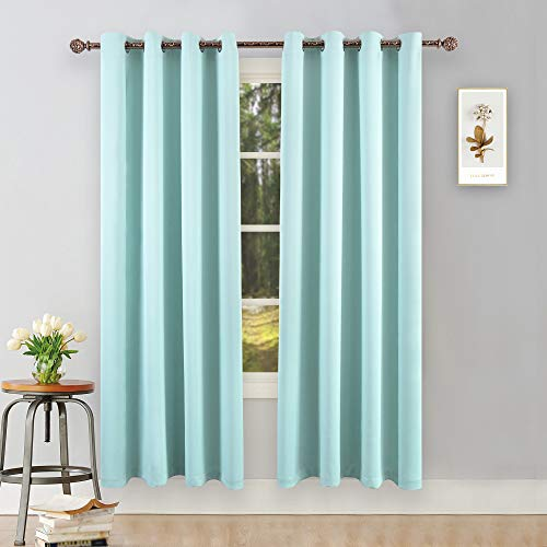 YGO Aqua Room Darkening Curtains for Bedroom Thermal Insulated Window Treatment Panels for Living Room 84 inch Long 2 Panels Set