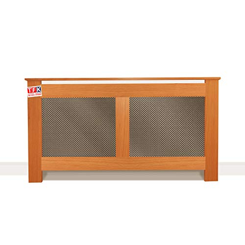 """Cherry Wood Radiator Cover with Metal Sheet, 26"""" Tall x 48"""" Wide - Custom Size for Carpenters - TFK-RAD-MDW2"""