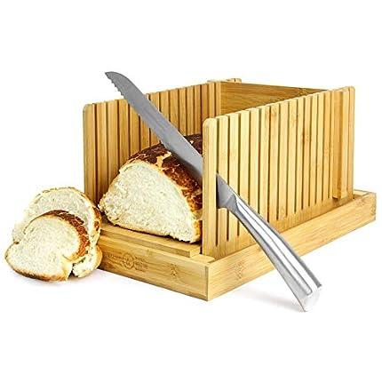 Rebanadora de pan de bambú | Tabla de cortar pan con guía | Ajustable, Plegable, Compacto | Para pasteles y panes caseros o industriales | M&W