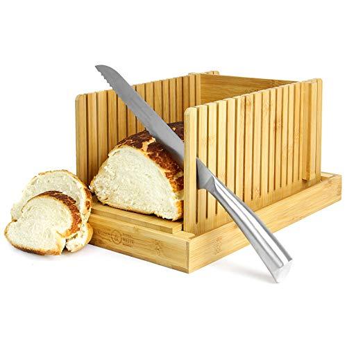 Maison & White Trancheur à pain en bambou | Planche à découper et guide pour trancher les couteaux | Réglable, pliable, compact | Convient aux gâteaux et pains de pain faits maison ou achetés