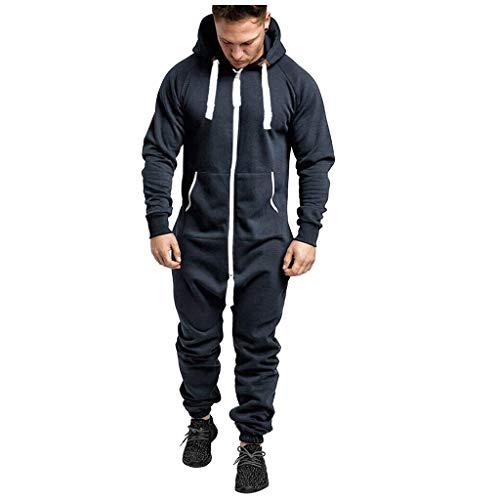 Zolimx Herren Overall Jumpsuit Onesie Trainingsanzug Einteiler Jogginganzug Bedruckter Sportanzug Mit Kapuze