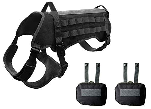Tactical Dog Vest No Pulling Reflective and Top Handle. Tactical Dog Harness with Pouches Military Molle Style. Top Loop Panel On Top for Patches. K9 Working Dog Vest Easy Control Dog (Large, Black)