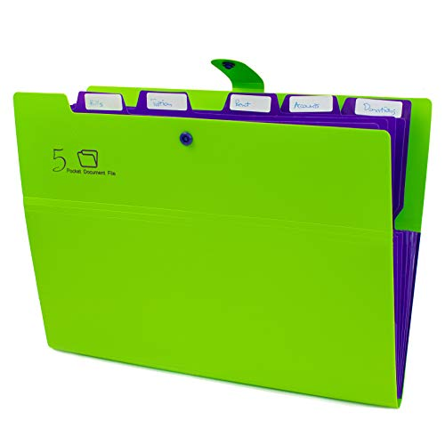 Kobest 5 Pockets Expanding file folder Accordion document Organizer,A4 Size and letter with Bouton closure For School and Office uses(Green)