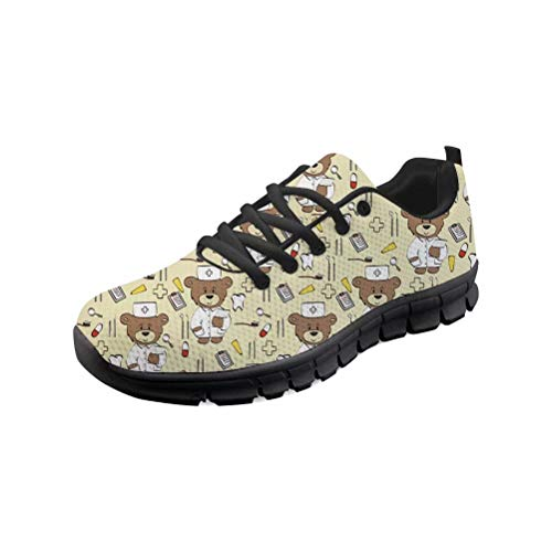 POLERO Zapatos de enfermera con dibujos animados Nurse Bear Shoes para mujer y hombre, zapatillas de deporte con cordones, talla 36-45 EU, color, talla 42 EU